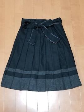 ◆紐リボン付◆バイカラープリーツスカート◆