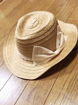 ベージュに白レースデカリボンが可愛いウエスタン麦わら帽子