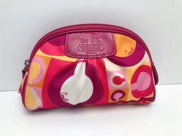 H092 コーチ COACH ポーチ 化粧バッグ 小物入れ ピンク系