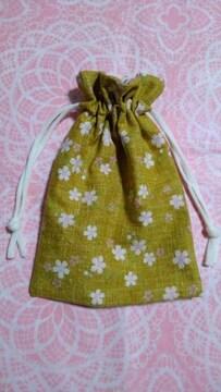 ◆ハンドメイド◆巾着◆桜♪小さめ♪黄土色♪