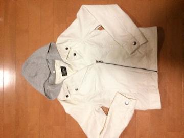 ☆フード付レザーライダースジャケット☆WT☆
