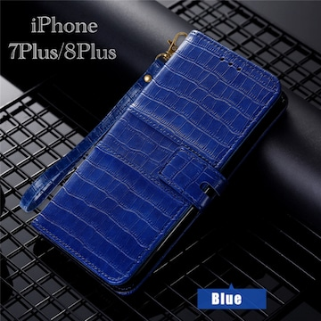 iPhone8Plus iPhone7Plus 手帳型ケース クロコダイル ブルー