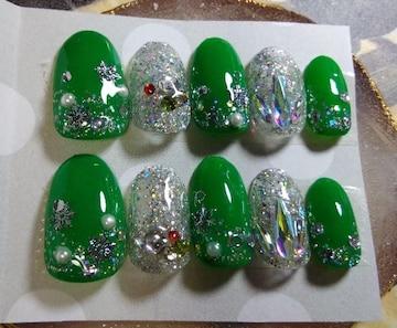 ジェルネイルチップ☆付け爪☆グリーン〜雪の結晶☆クリスマス