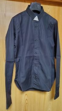 正規 レア ディオールオム スリム 細身ドレスシャツ 黒 アクセントボタンアップ タイニーカラー 36