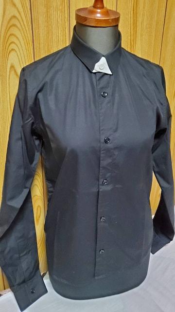 正規 レア ディオールオム スリム 細身ドレスシャツ 黒 アクセントボタンアップ タイニーカラー 36 < ブランドの