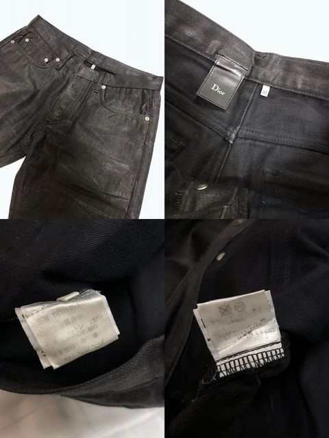 正規 エディ Dior Hommeディオールオム コーティングデニム パンツ黒 30 M ナイトフォール < ブランドの
