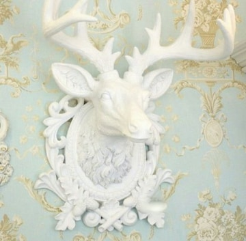 新品 鹿 トナカイ レリーフ オブジェ 壁掛け  ロココ調 置物