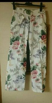 花柄パンツ ワイド ストレート 綿 S ウエスト60 パーラビオン
