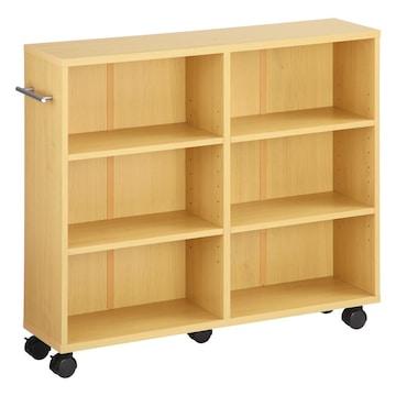 本棚 キャスター付 隙間収納 木製 取っ手付 ナチュラル