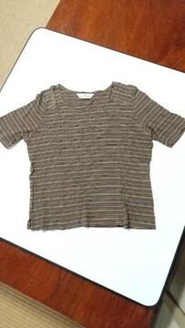 茶系ボーダーTシャツ