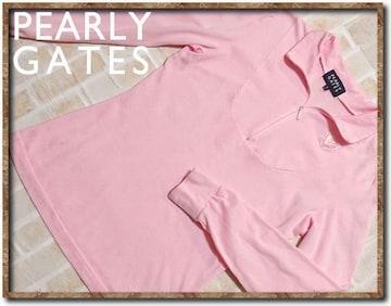パーリーゲイツ 刺繍入り長袖カットソー ピンク☆やや難