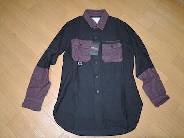 新品PEEL&LIFTアーミーシャツM黒ピールアンドリフトARMYネル