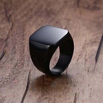 スクエアリング ブラック 指輪 リング アクセサリー