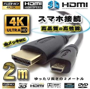 スマホ接続 HDMI - Micro HDMI 変換 HDMI黒ケーブル 2m