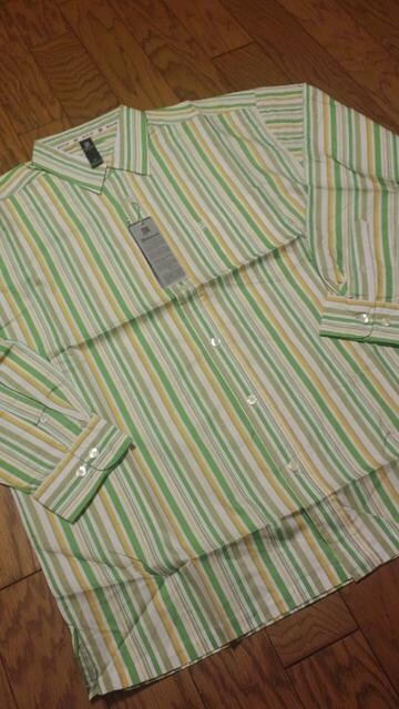 MAKAVELI2PAC デザインストライプ長袖シャツ 緑系 XL  M�A  < 男性ファッションの