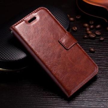 iPhone7 8 手帳型ケース レザー フォトフレーム フィルム 茶色