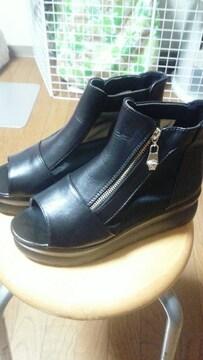 新品★厚底★ブーツサンダル★黒★