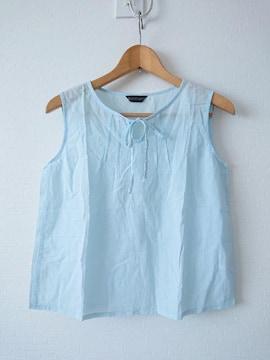 新品 水色 ノ—スリーブシャツ リボンつき M