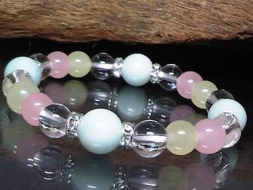 アマゾナイト・水晶・クォーツアイト数珠