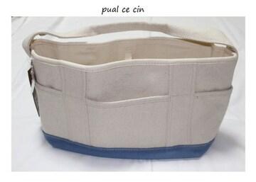 ピュアルセシン*pual ce cin★帆布トートバッグ/新品ブルー