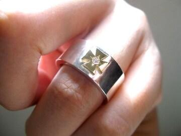 仁尾彫金『一つ星ダイヤ平打アイアンクロスリング』ハンドメイド
