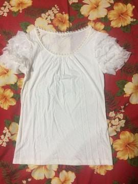 レストローズ☆半袖☆真っ白レース☆激かわTシャツ☆