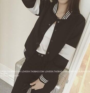 ショート丈 ジャケット ライン入り ブラック 長袖 大きいサイズ
