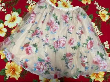 NICE CLAUP☆可愛い淡いピンクのバラ柄チュールスカート☆