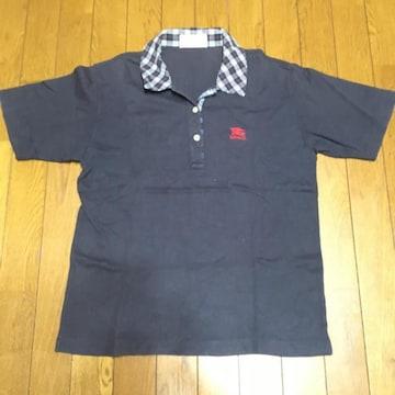 正規品 バーバリー 襟チェック ポロシャツ 紺 M 良品