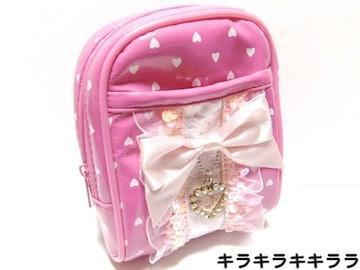 プリンセスキラキラ・ハートチャーム付★リボン*シガレットケースピンク