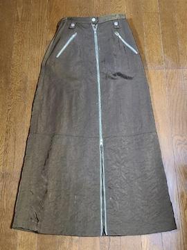 送料無料/焦げ茶色ファスナー仕立てシャカシャカロングスカート