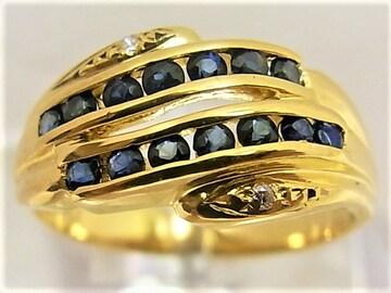 K18 18金 リング 指輪 サファイヤ ダイヤ入 c