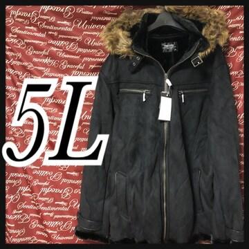 5L・ファーフード付ムートン調コート新品/MCfu910-101s