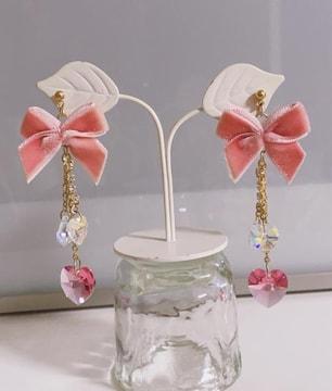 リズリサ 可愛いリボン&ハートピアス ピンク色