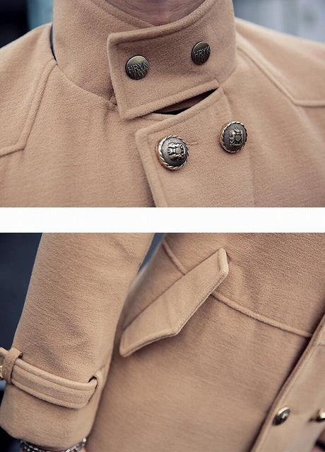 送料無料お兄系ホストメンナク/Pコート/細身チョイ悪オラオラ系服101茶-M < 男性ファッションの