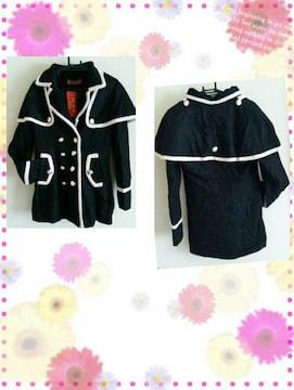 ☆バイカラーコート☆黒M