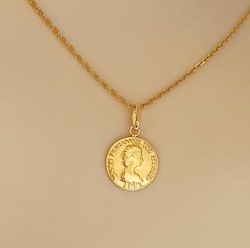 新品☆K18(18金)コインデザイン ペンダントトップ10�o