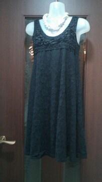 新品S★小さいサイズ★黒レースワンピ/胸元バラレース