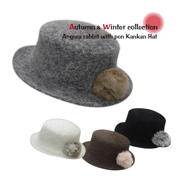 アンゴラファーポン付き カンカン帽 オフホワイト★新品