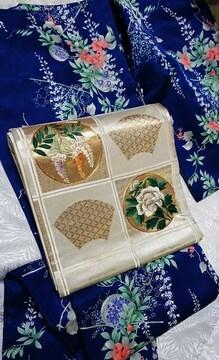 華やか牡丹と藤の花刺繍入り名古屋帯。パーティーシーンにも。金銀糸入
