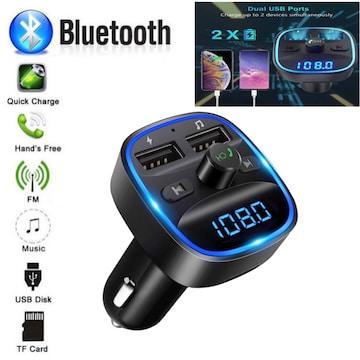 Bluetooth FMトランスミッター 充電器 充電 音楽再生 ブルー