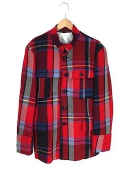 Y\s for men(ワイズ フォー メン)チェック柄 ウール混 スタンドカラージャケットコート