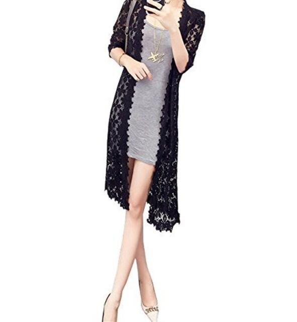 花柄レース ロングカーディガン(XL寸・黒) < 女性ファッションの