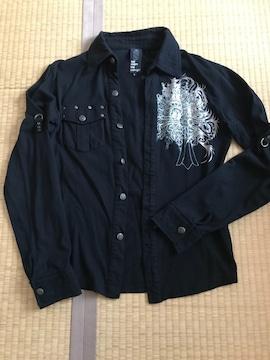 セマンティックデザイン★semantic design 襟付き綿シャツ 黒 L