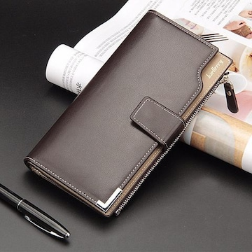 長財布 レザー 二つ折り財布 札 小銭 カード入れ 茶色 ブラウン