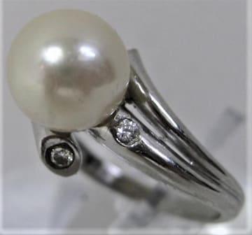 Pt900プラチナ リング指輪パール9.2mmアコヤ真珠ダイヤ0.09ct