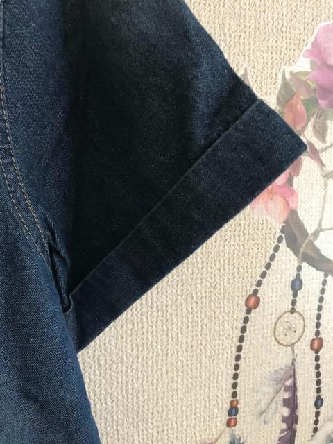 新品薄手色落ちさわらか素材ジーンズシャツ半袖LL