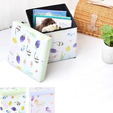 収納BOXスツール 魚 熱帯魚 クラゲ 小物入れ おもちゃ箱