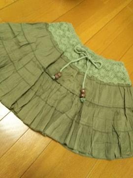 美品/楽チン可愛いスカート/グリーンカーキ