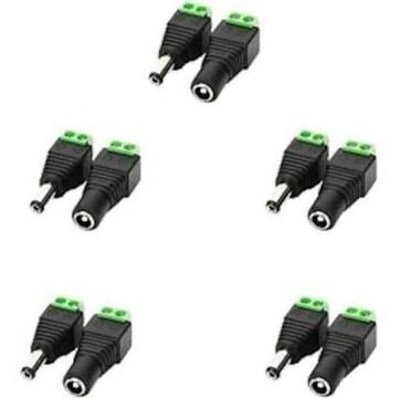 LitaElek 10個セット 5.5mm x 2.1mm DC 12V電源アダプタコネクタ